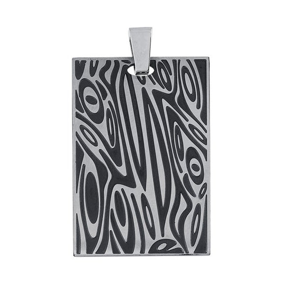 Men's Recessed Mokume Gane Stainless Steel Dog Tag Pendant