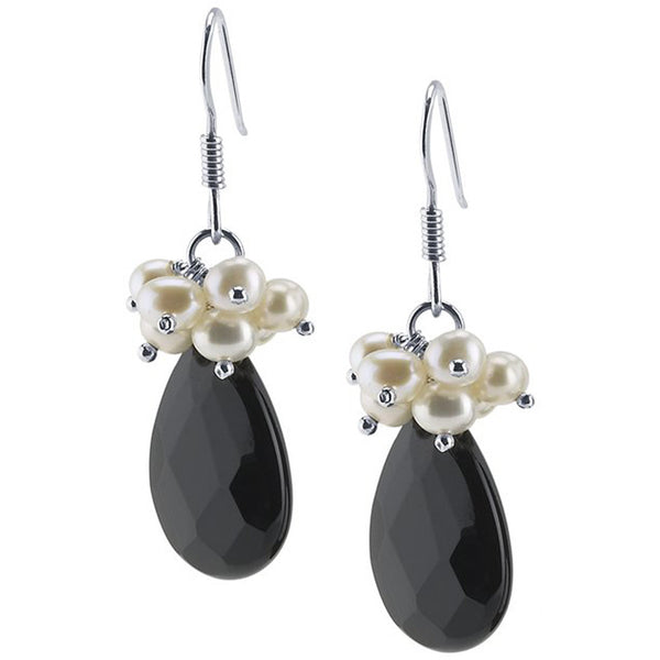 Sterling Silver Black Onyx Freshwater Pearl Earrings