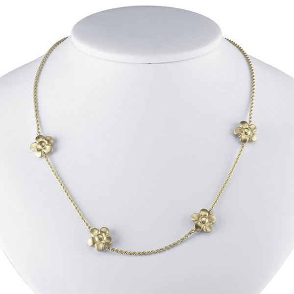 14kt Yellow Gold Rope Chain Flower Necklace - 17 Inches