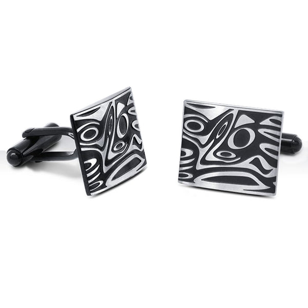 Men's Recessed Mokume Gane Stainless Steel Cuff Links