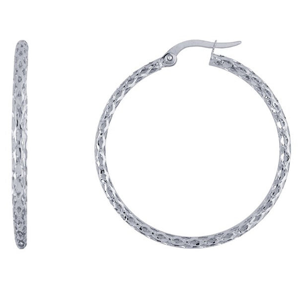 14kt White Gold Diamond Cut Hoop Earrings
