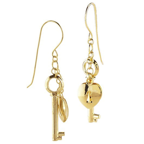 14kt Yellow Gold Heart Lock and Key Earrings