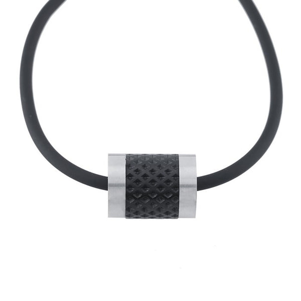 Men's Rubber Cord Stainless Steel Mesh Necklace