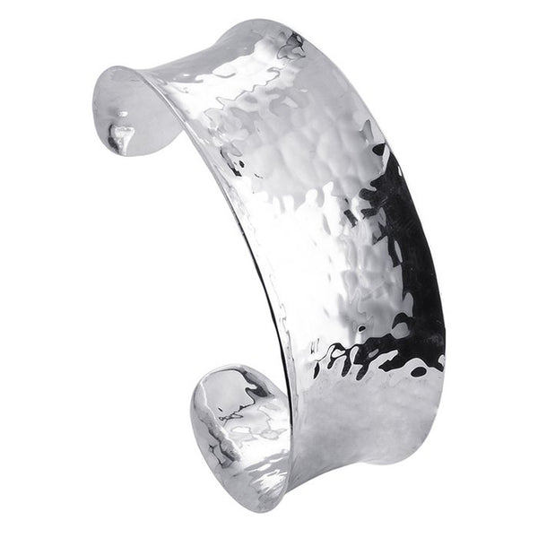 Handcrafted Sterling Silver Concave Tapered Hammered Cuff Bracelet 19mm