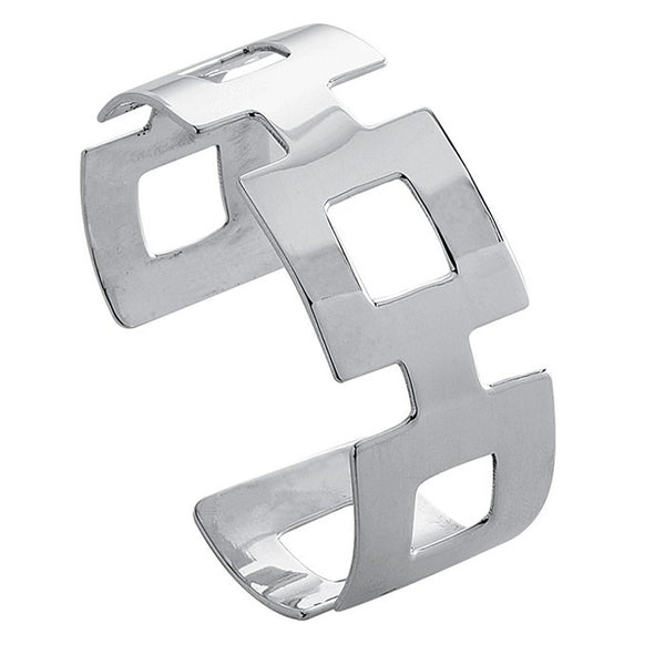 Sterling Silver Open Square Cuff Bracelet 32mm