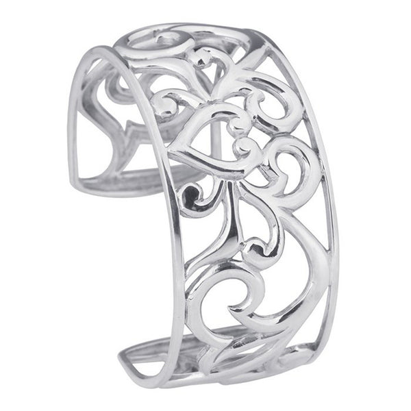 Sterling Silver Filigree Heart Cuff Bracelet 25mm