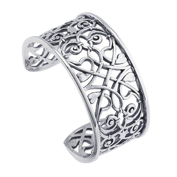 Sterling Silver Fancy Heart Cuff Bracelet 28mm