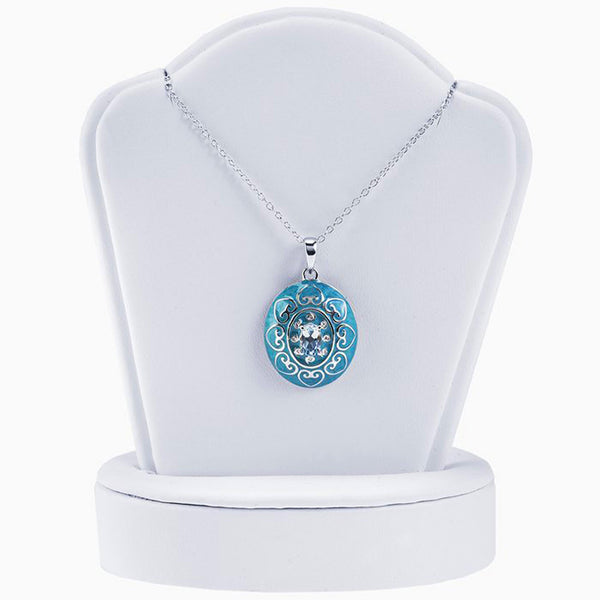 Sterling Silver Necklace with Epoxy and Sky-Blue Topaz Pendant - 18 Inches