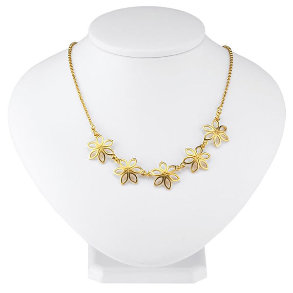 24K Gold-Plated Sterling 1.9mm Open Flower Necklace - 16 Inches