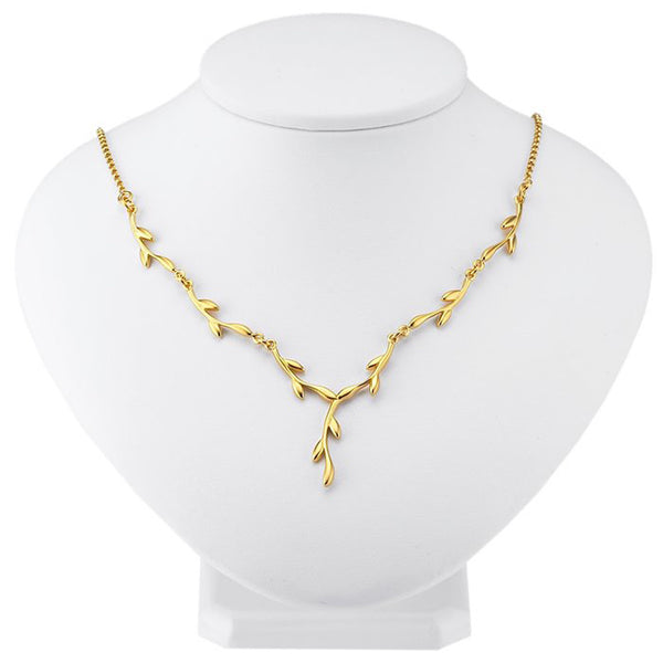 24K Gold-Plated Sterling Small Branch Necklace - 16 Inches