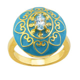 18K Gold-Plated Sterling Ring with Epoxy Inlay and Sky-Blue Topaz