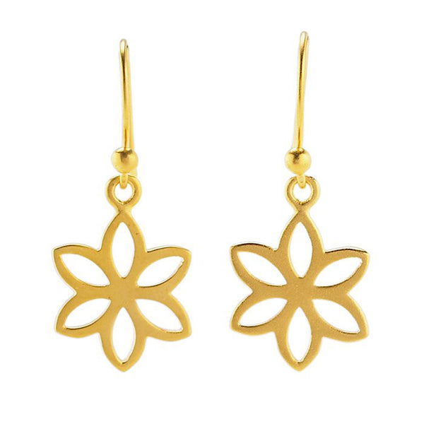24K Gold-Plated Sterling Flat Flower Earrings