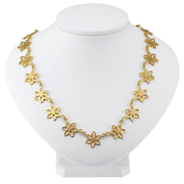 24K Gold-Plated Sterling Flat Flower Necklace - 16 Inches