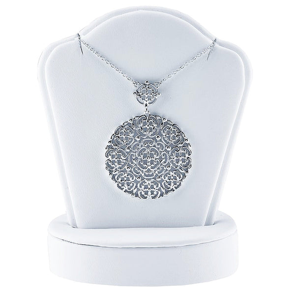 Sterling Silver Filigree Circle Necklace - 18 Inches