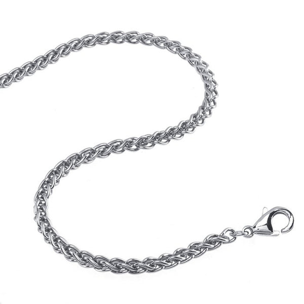 2.4mm Wheat Stainless Steel Chain Necklace