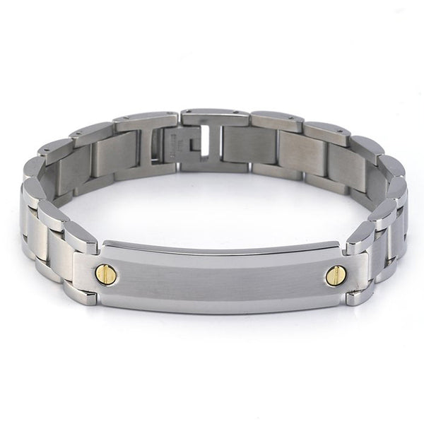 12.3mm Link with 18k Yellow Gold Stainless Steel Men's Bracelet 8.5 Inch