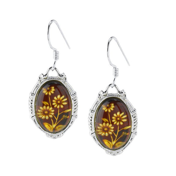 Sterling Silver Hand Carved Cherry Amber Flower Earrings