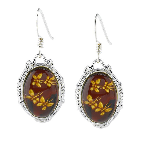 Sterling Silver Hand Carved Cherry Amber Butterfly Earrings