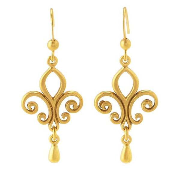 24K Gold Plated Sterling Silver Fleur de Lis Drop Earrings