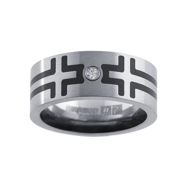 8mm Cross 2pt. Genuine Diamond Titanium Ring