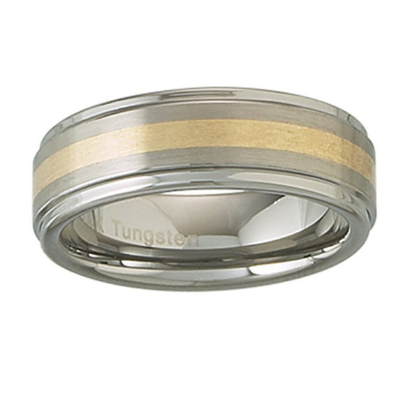 7mm 14kt Yellow Gold Inlay Tungsten Ring