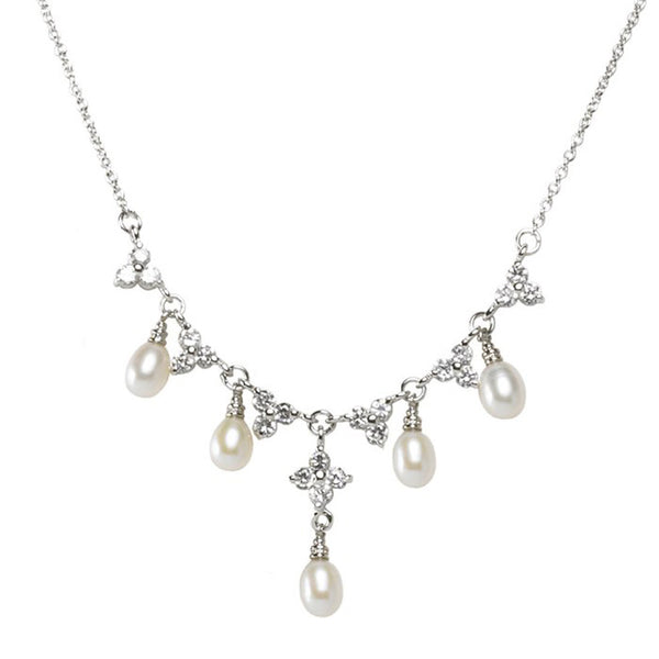 Sterling Silver CZ Cluster Freshwater Pearl Drop Necklace - 16 Inches