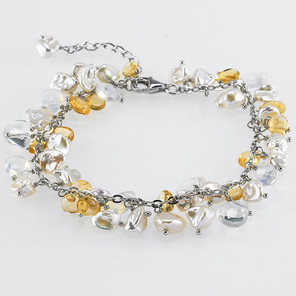 Sterling Silver Citrine Glass Beads Freshwater Pearl Bracelet - 7.5 Inches