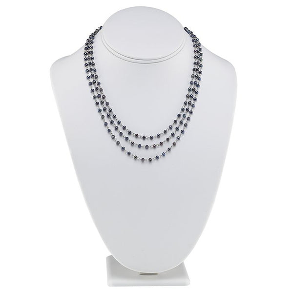 Sterling Silver Three Strand Black Pearl Necklace - 18 Inches