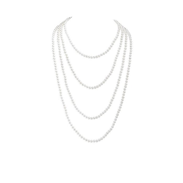White 6.5mm Freshwater Pearl Necklace - 100 Inches