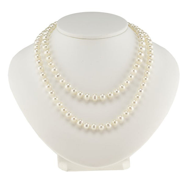 White Freshwater Semi-Round Continuous Pearl Strand Necklace - 30 Inches