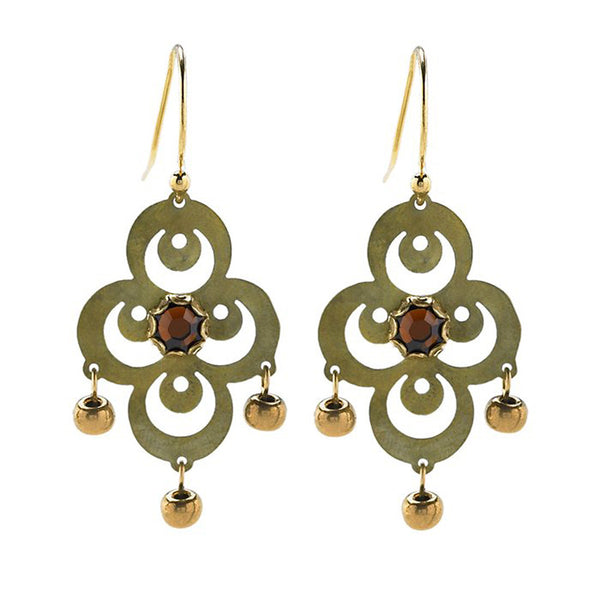 Holly Yashi Antiqued Crystal Bead Lyra Earrings