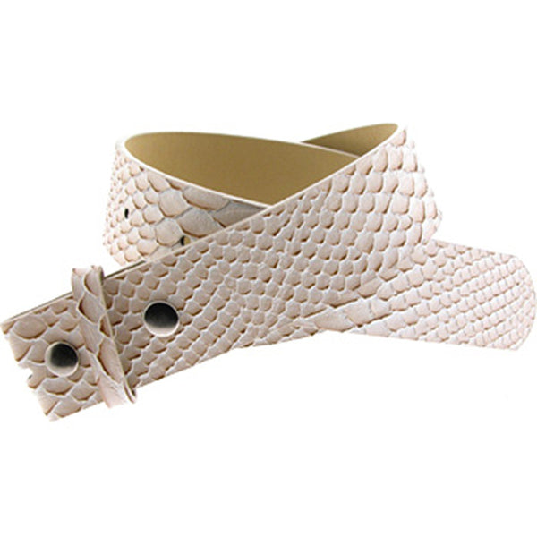 Snake Skin BEIGE Leather SNAP Belt