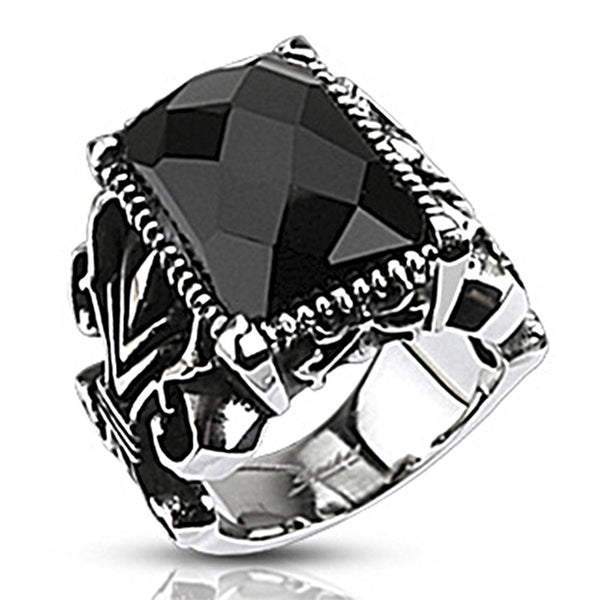 Spikes Stainless Steel Gothic Onyx Stone Ring Bodycandy