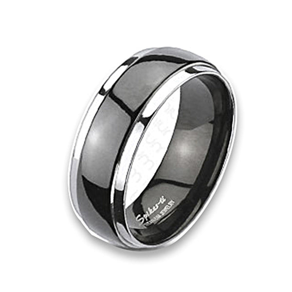 Spikes Solid Titanium Two Tone Black Dome Band Ring