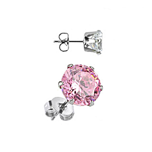 Spikes Stainless Steel Pink Round CZ Stud Earrings