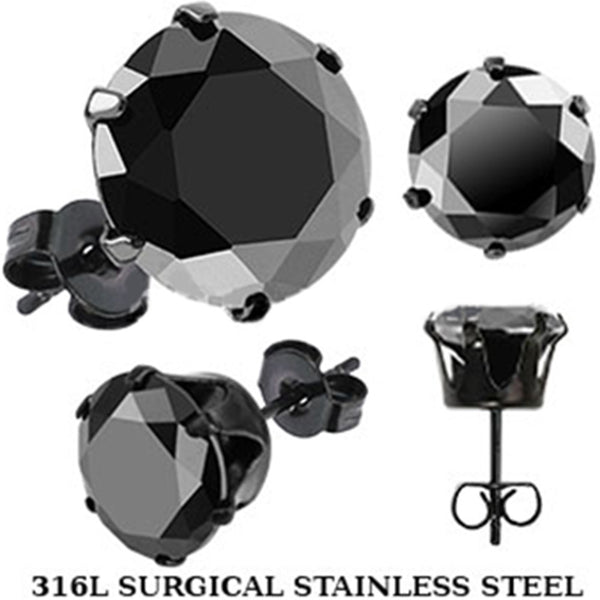 Spikes Stainless Steel Black Round CZ Stud Earrings
