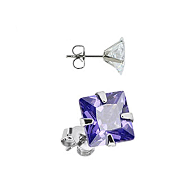 Spikes Stainless Steel Amethyst Square CZ Stud Earrings