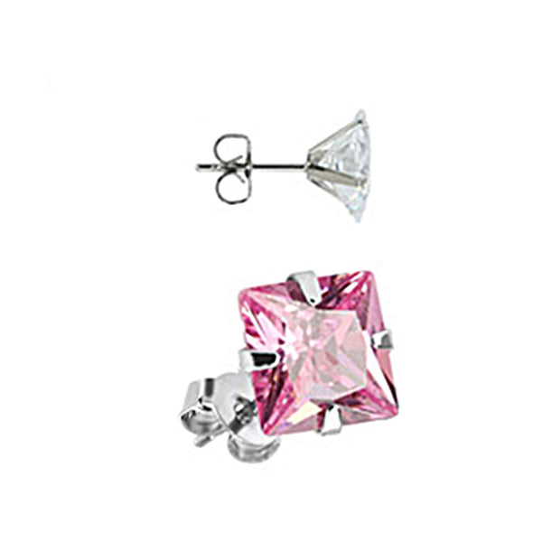 Spikes Stainless Steel Pink Square CZ Stud Earrings