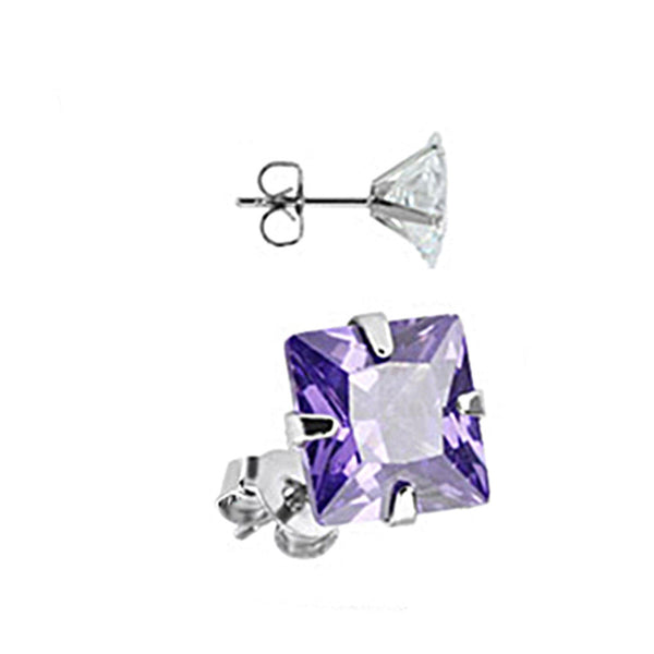 Spikes Stainless Steel Tanzanite Square CZ Stud Earrings
