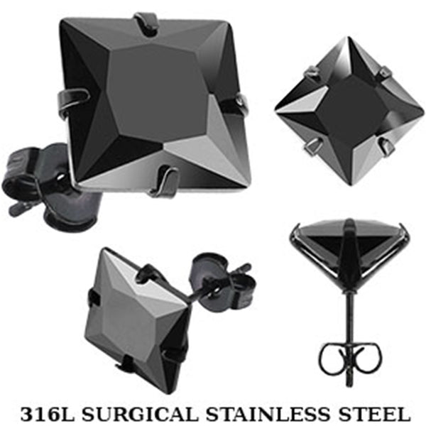 Spikes Stainless Steel Black IP Square CZ Stud Earrings