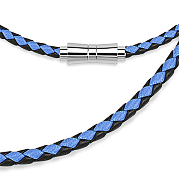 Spikes Blue and Black Weaved Leather Saddle Closure Necklace
