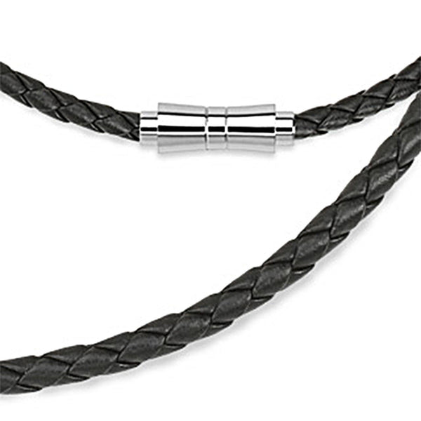 Spikes Black Weaved Leather Saddle Closure Necklace