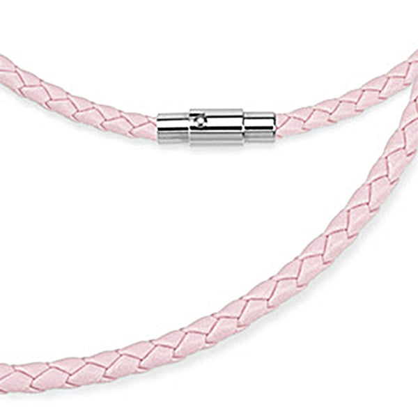 Spikes Pink Weaved Leather Saddle Magnetic Lock Necklace