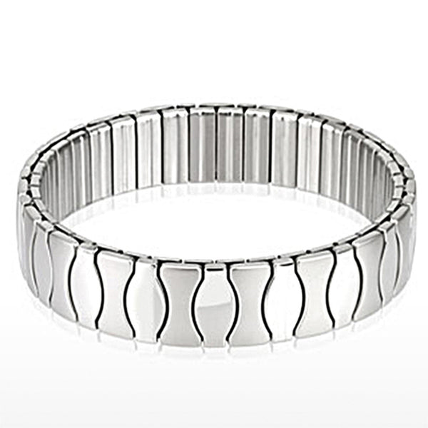 Spikes Stainless Steel Duo Tone Hourglass Stretch Bracelet