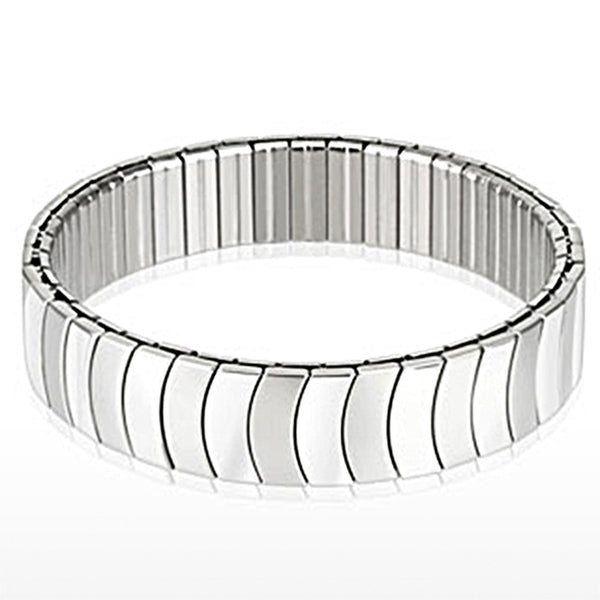 Spikes Stainless Steel Duo Crescent Segmented Stretch Bracelet
