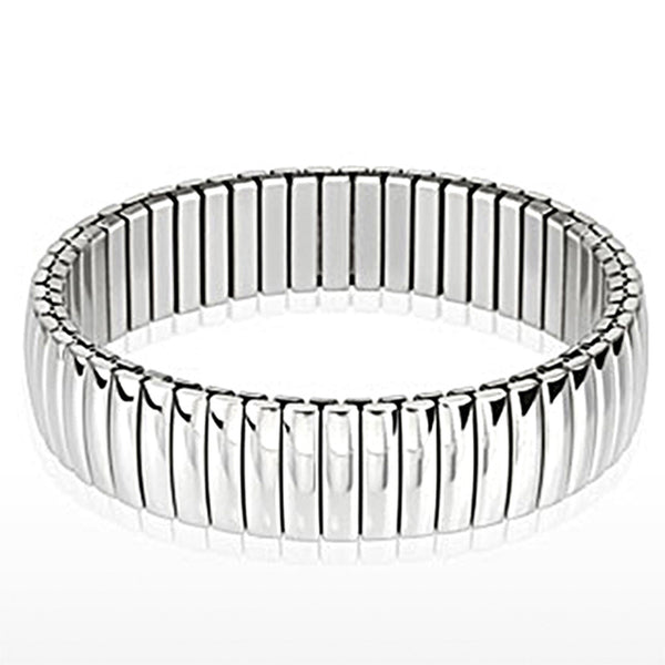Spikes Stainless Steel Dome Bar Segmented Stretch Bracelet