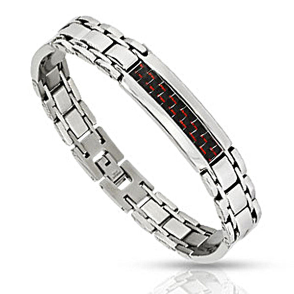 Spikes Stainless Steel Red and Black Carbon Fiber Inlay Link Bracelet