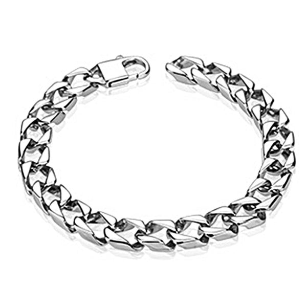 Spikes Stainless Steel Thick Square Chain Link Bracelet