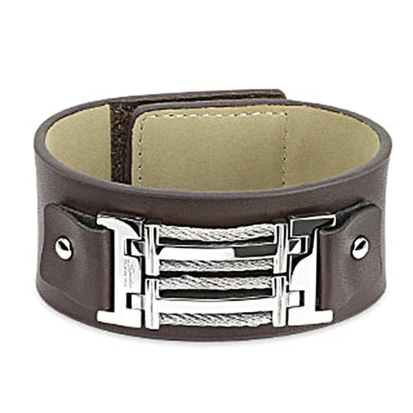 Spikes Barbed Wire Buckle Wrap Brown Leather Bracelet