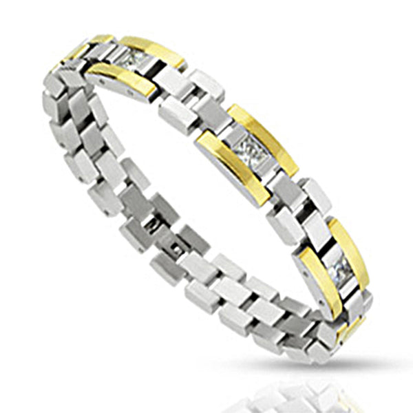 Spikes Two Tone Gold IP Square Cut Link Bracelet